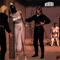 Blonde girl in leather mask was punished!